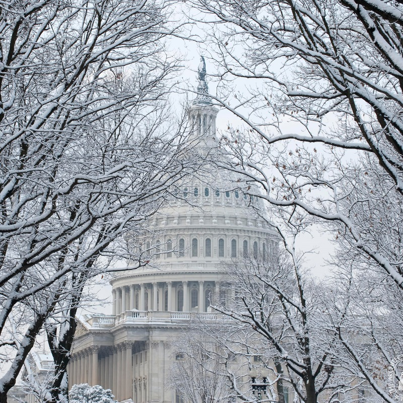 U.S. Capitol dome in snow. Credit: Architect of the U.S. Capitol.