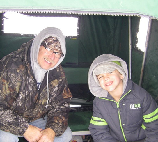 Brady Lunde fishing with grandson Brayden at the Kampeka Chapter