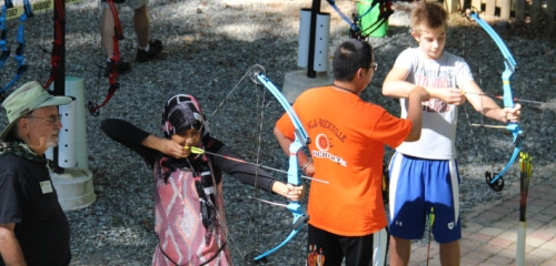 Teaching youth archery at the Rockville (Maryland) Chapter's National Hunting and Fishing Day open house