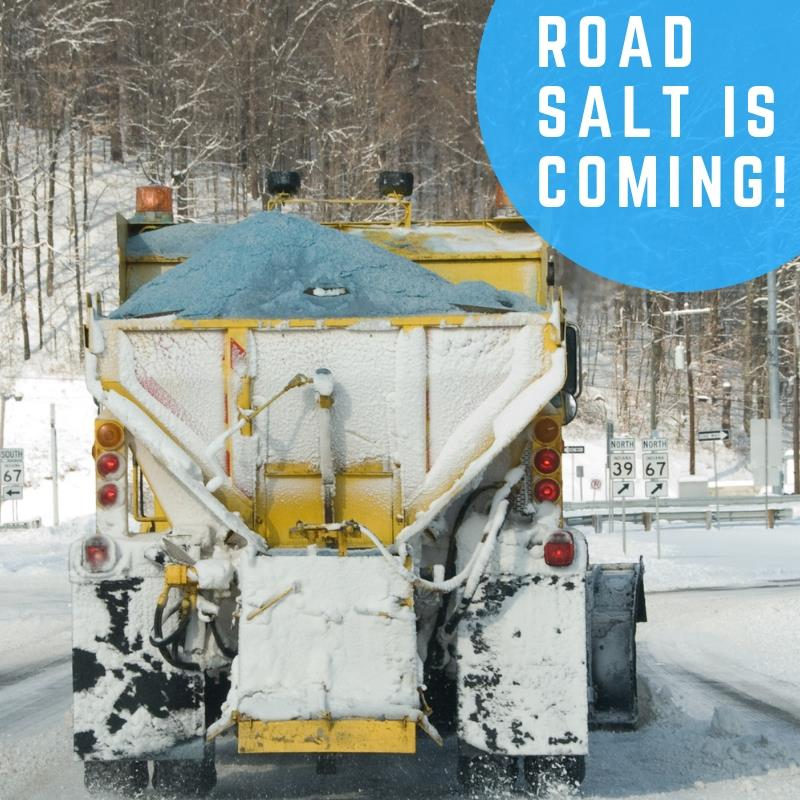 "Image of salt truck with text ""Road salt is coming"""