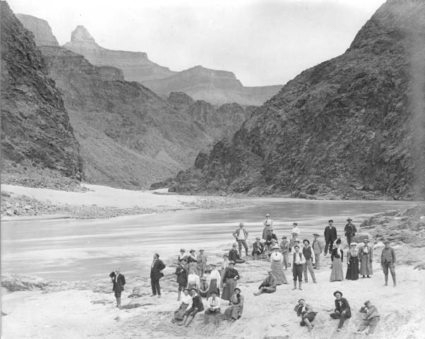 Los Angeles Chamber of Commerce members by the Colorado River in 1906. Credit: Putnam and Valentine