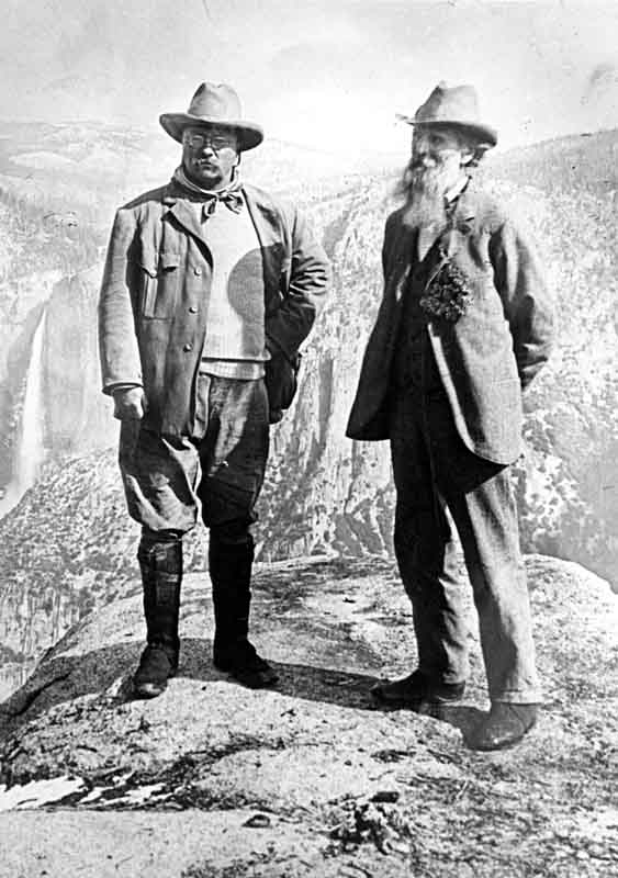 President Theodore Roosevelt and John Muir on Glacier Point in Yosemite National Park. Credit: National Park Service