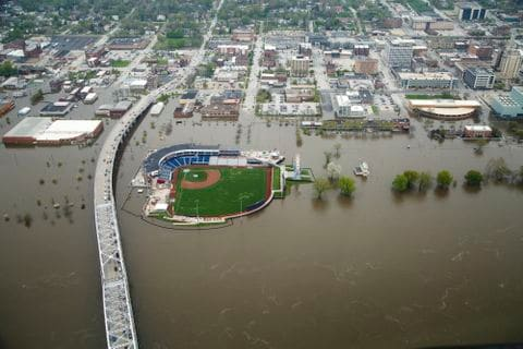 Flooding in downtown Davenport
