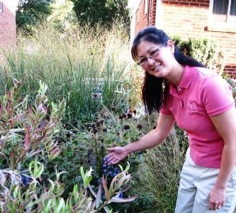 Woman with diverse planting