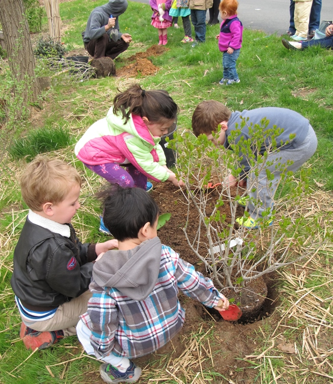 youth invovled in planting trees for Earth Day 2015